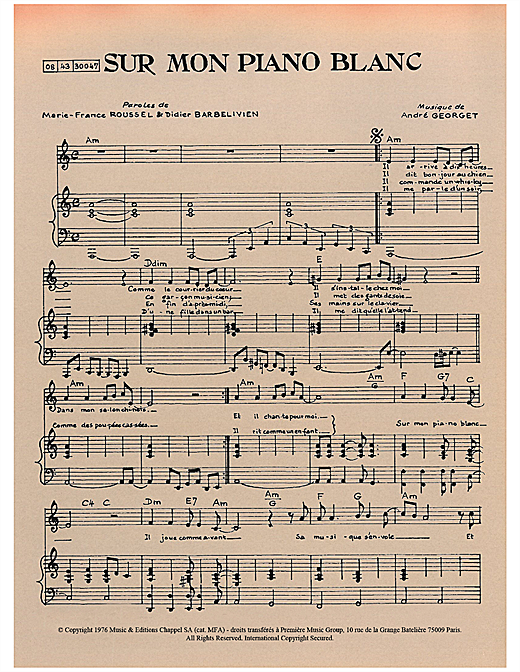 page one of Sur Mon Piano BlancASALTTEXT