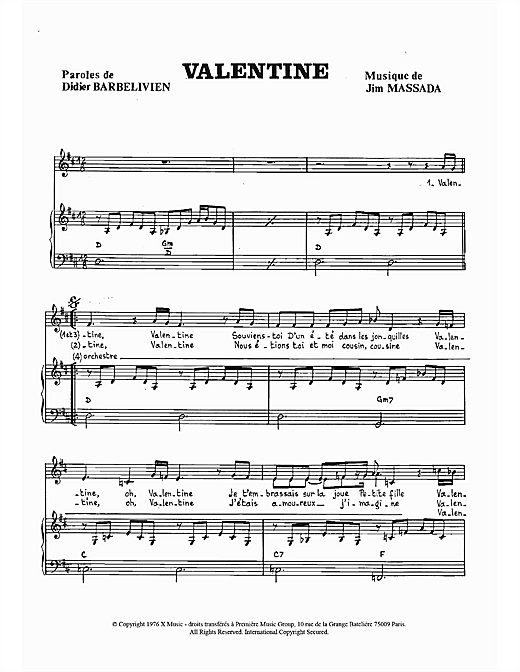Partition piano Valentine de Didier Barbelivien - Piano Voix