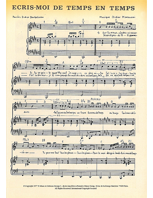 Ecris Moi De Temps En Temps Sheet Music