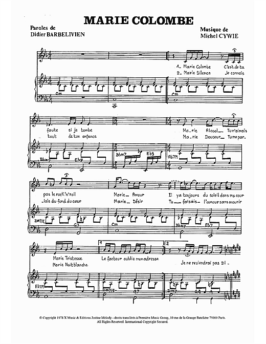 Marie Colombe Sheet Music