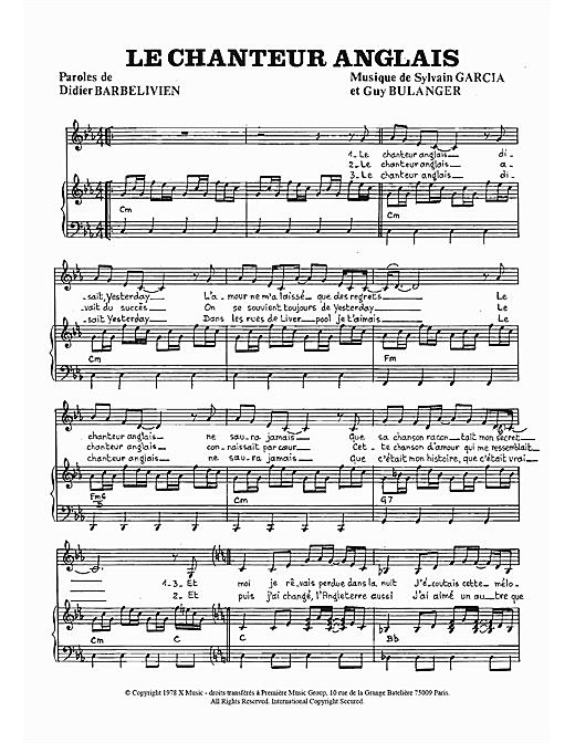 Le Chanteur Anglais Sheet Music