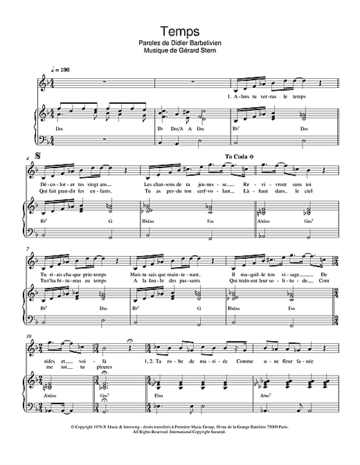 Temps Sheet Music