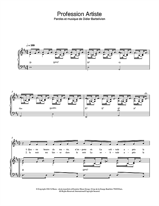 Profession Artiste Sheet Music