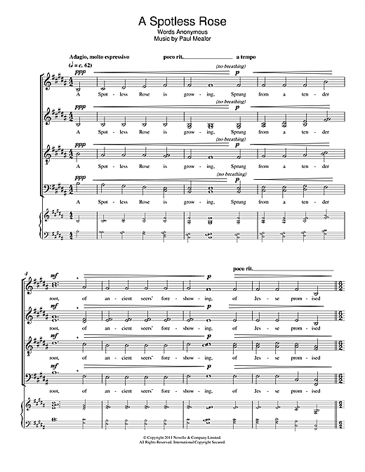 A Spotless Rose Sheet Music