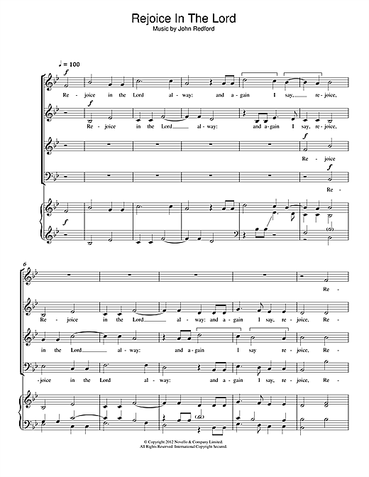 Rejoice In The Lord Sheet Music