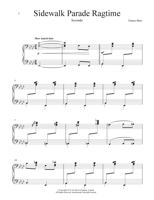 Partition piano Sidewalk Parade (Ragtime) de Francis Shaw - 4 mains