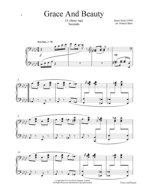 Partition piano Grace And Beauty (A Classy Rag) de Francis Shaw - 4 mains