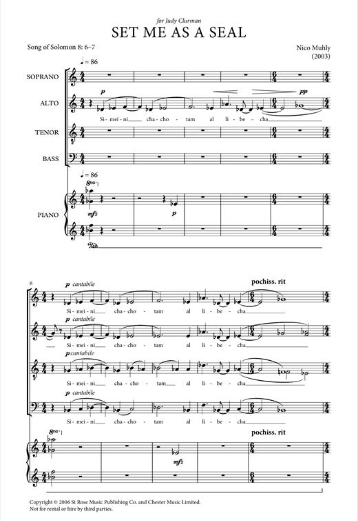 Partition chorale Set Me As A Seal de Nico Muhly - SATB