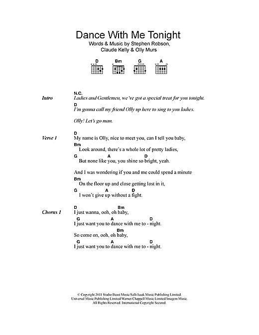 Dance With Me Tonight sheet music by Olly Murs (Lyrics & Chords ...