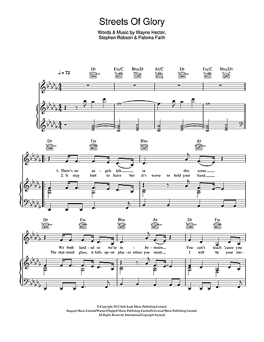 Streets Of Glory Sheet Music
