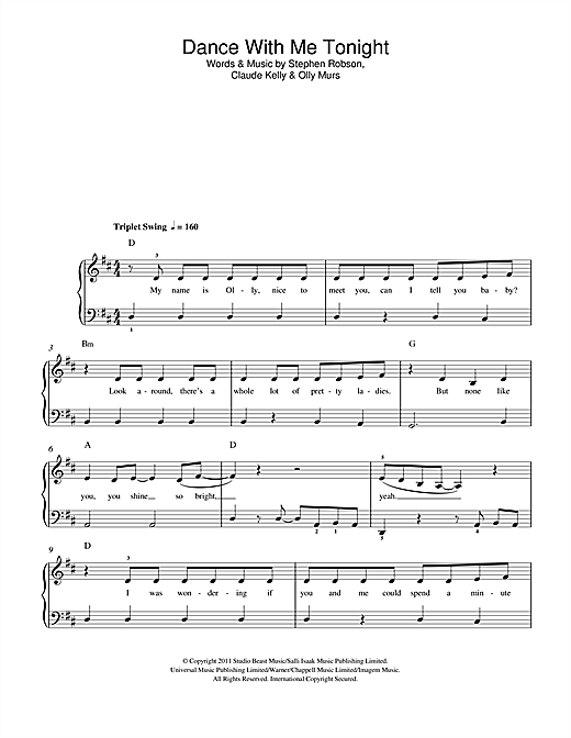 Dance With Me Tonight Sheet Music