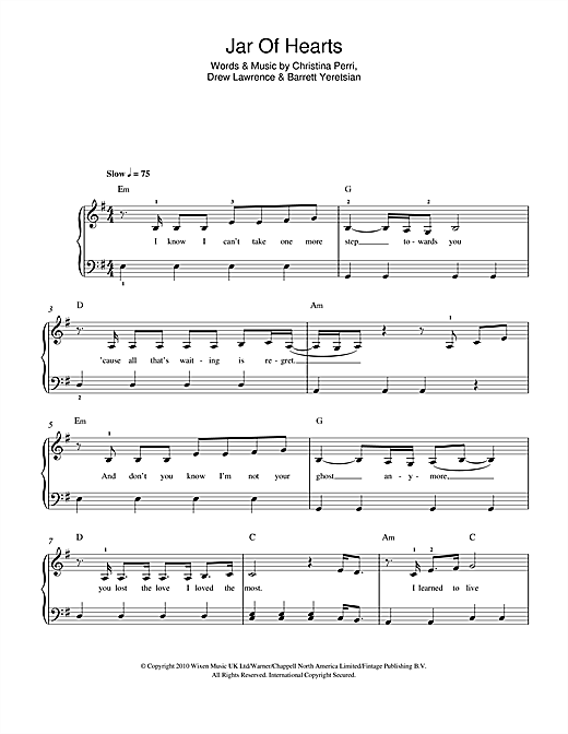 Jar Of Hearts Sheet Music