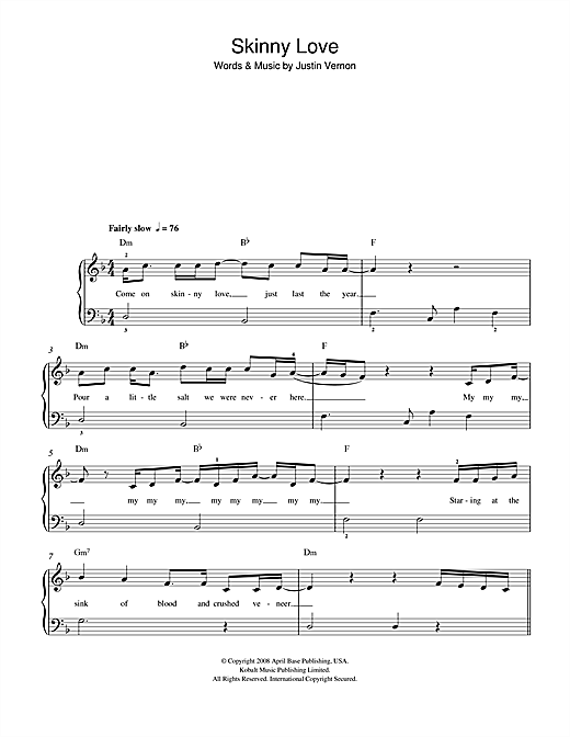 Skinny Love sheet music for piano