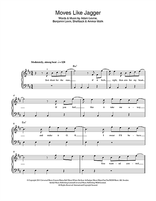 Moves Like Jagger Sheet Music
