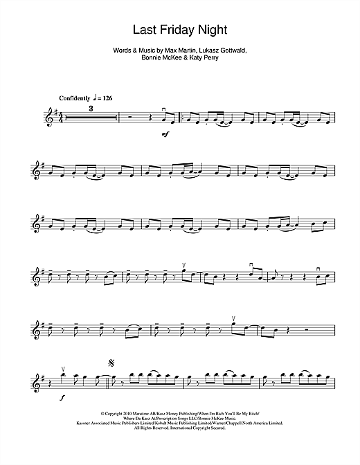 Last Friday Night Sheet Music