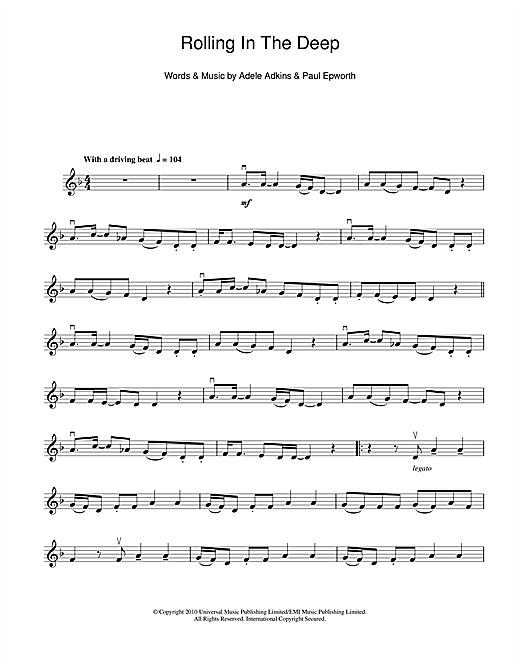 Rolling In The Deep Sheet Music