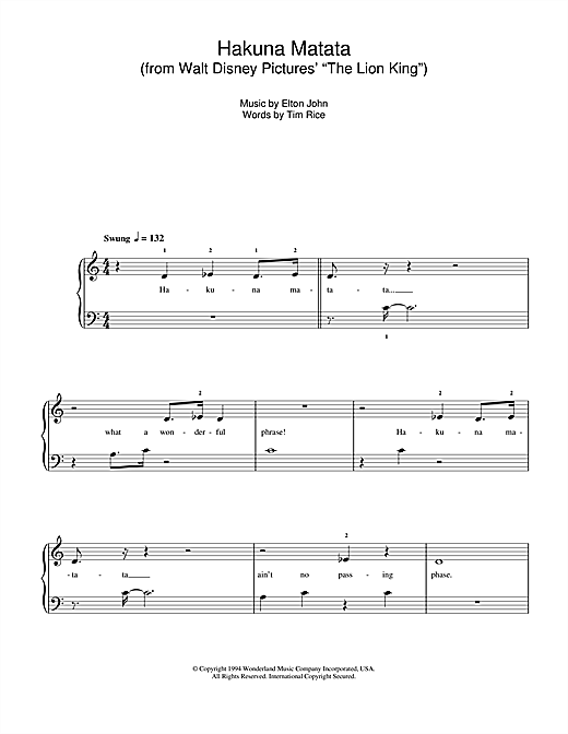 "Hakuna Matata (from Walt Disney Pictures' ""The Lion King"") Sheet Music"