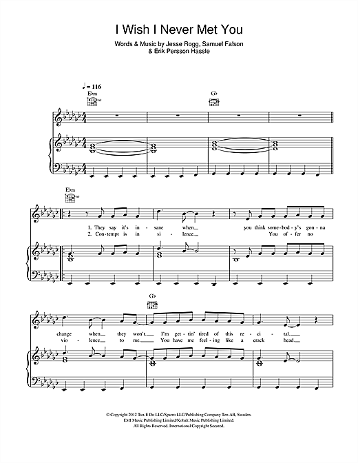 I Wish I Never Met You Sheet Music