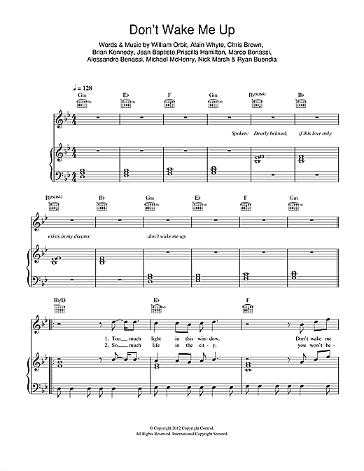 Dont Wake Me Up Sheet Music By Chris Brown Piano Vocal Guitar