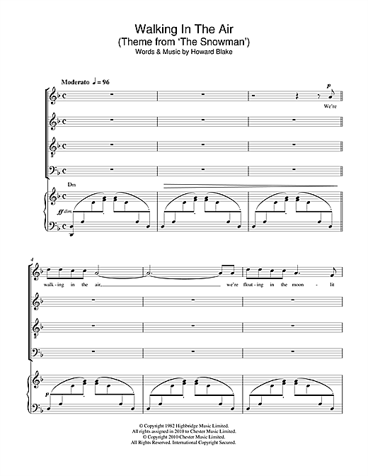 Partition chorale Walking In The Air (theme from The Snowman) de Howard Blake - SATB