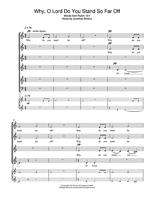 Partition chorale Why, O Lord Do You Stand So Far Off de Jonathan Bridcut - SATB