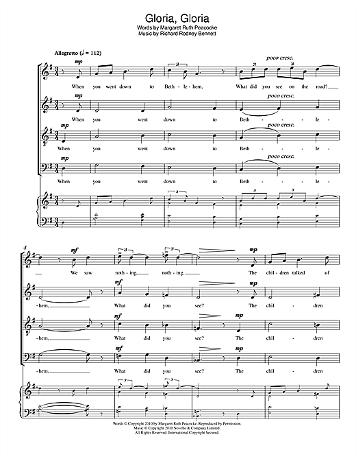 Gloria, Gloria Sheet Music