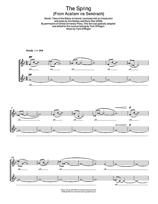 Partition chorale The Spring (From Acallam na Senórach) de Tarik O'Regan - SATB