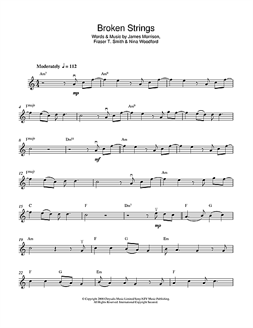 Broken Strings Sheet Music