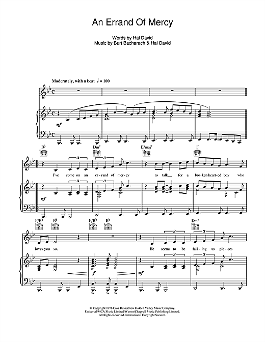 An Errand Of Mercy Sheet Music