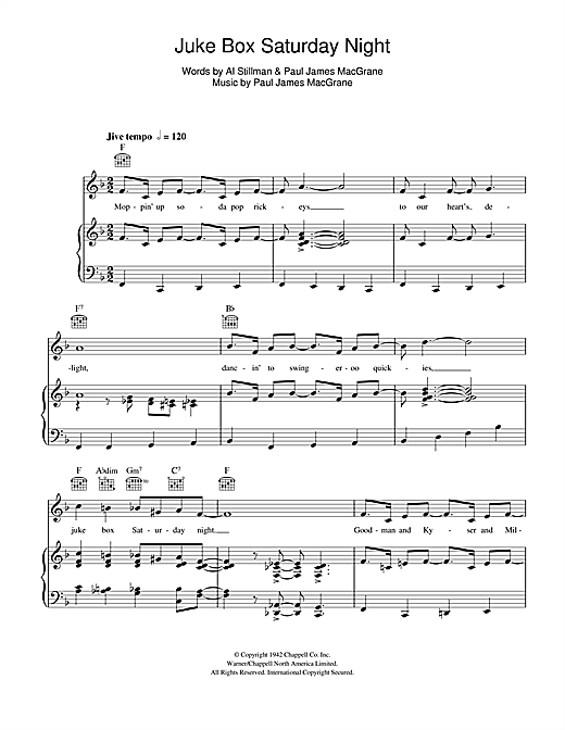 Juke Box Saturday Night Sheet Music