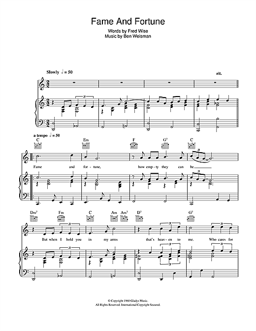 Fame And Fortune Sheet Music