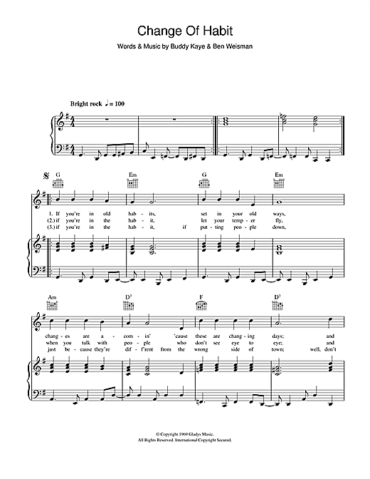 Change Of Habit Sheet Music