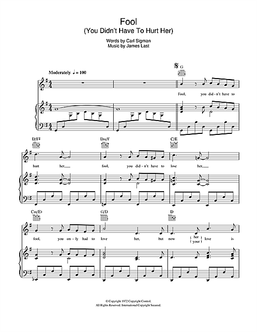 Fool (You Didn't Have To Hurt Her) Sheet Music