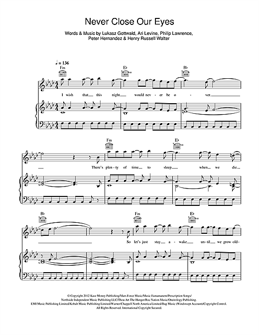 Never Close Our Eyes Sheet Music