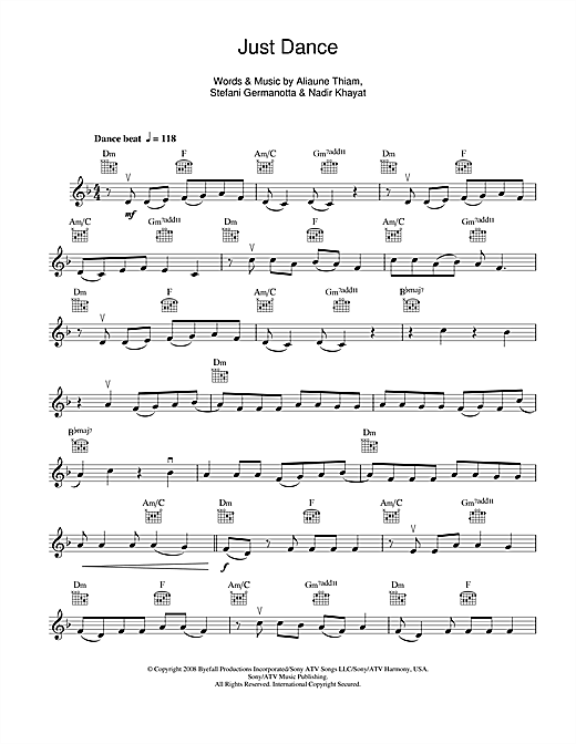 Just Dance Sheet Music