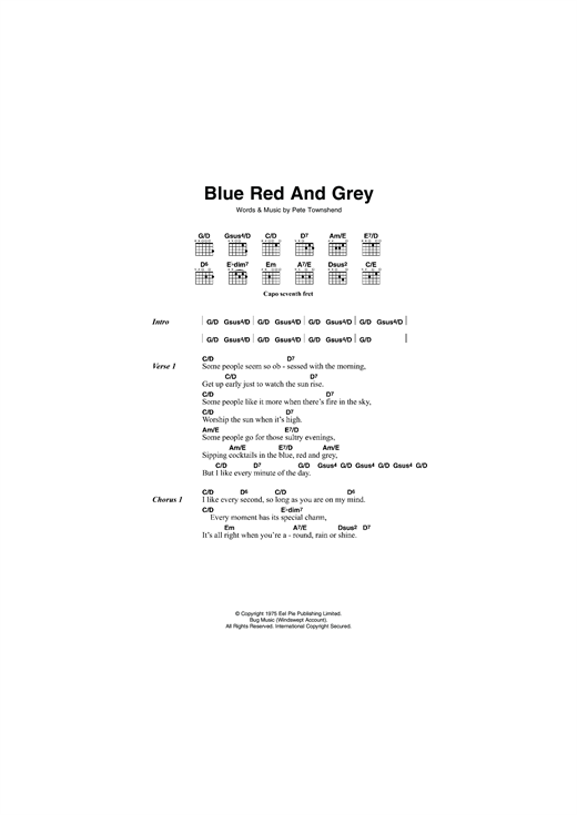 Blue, Red and Grey Sheet Music