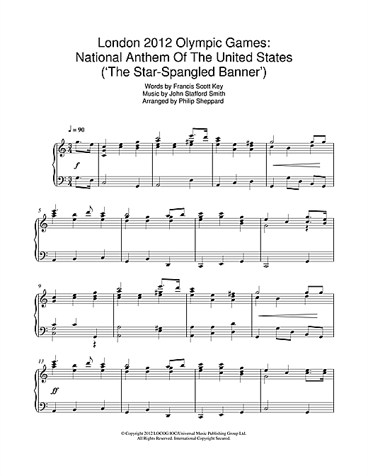 London 2012 Olympic Games: National Anthem Of The United States ('The Star-Spangled Banner') (Piano Solo)