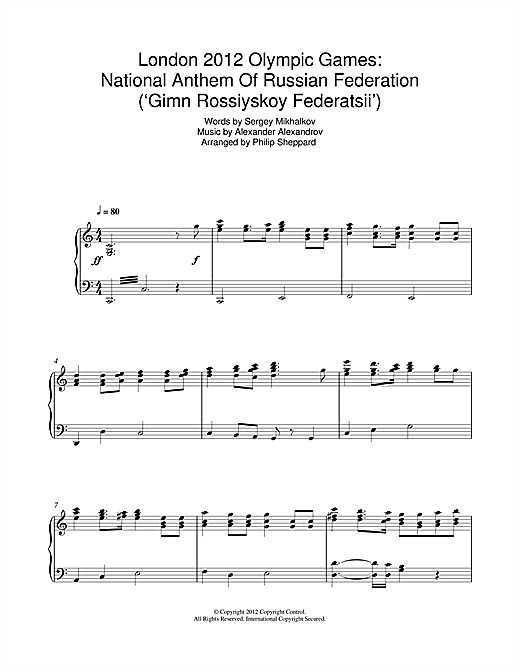 London 2012 Olympic Games: National Anthem Of Russian Federation ('Gimn Rossiyskoy Federatsii') Sheet Music