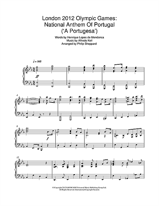 London 2012 Olympic Games: National Anthem Of Portugal ('A Portugesa') Sheet Music
