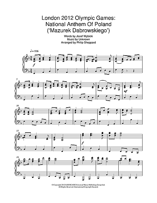 page one of London 2012 Olympic Games: National Anthem Of Poland ('Mazurek Dabrowskiego')ASALTTEXT