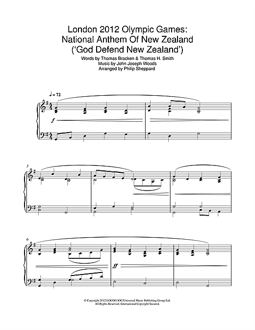 London 2012 Olympic Games: National Anthem Of New Zealand ('God Defend New Zealand') Sheet Music