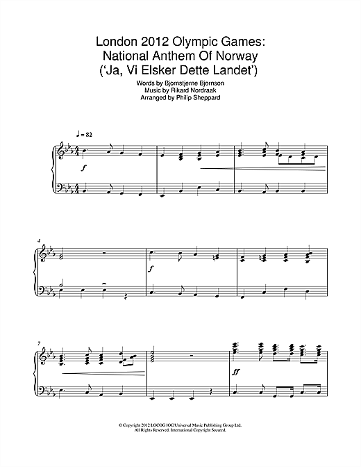 London 2012 Olympic Games: National Anthem Of Norway ('Ja, Vi Elsker Dette Landet') Sheet Music