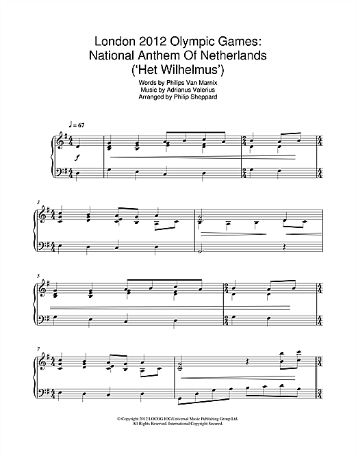 London 2012 Olympic Games: National Anthem Of Netherlands ('Het Wilhelmus') Sheet Music