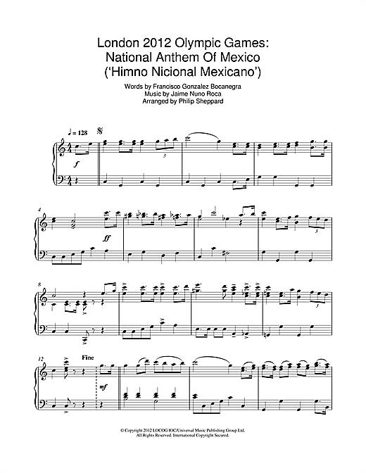 London 2012 Olympic Games: National Anthem Of Mexico ('Himno Nicional Mexicano') Sheet Music