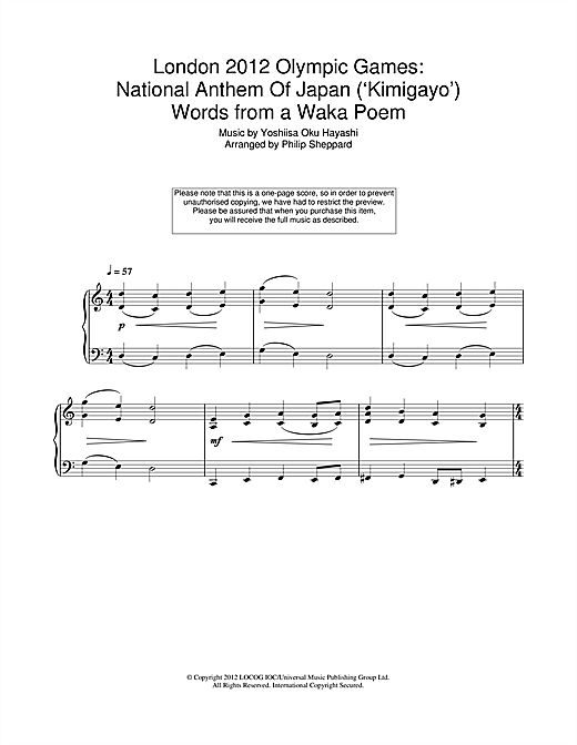 London 2012 Olympic Games: National Anthem Of Japan ('Kimigayo') Sheet Music