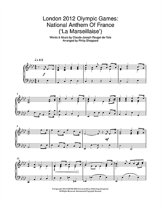 London 2012 Olympic Games: National Anthem Of France ('La Marseillaise') Sheet Music