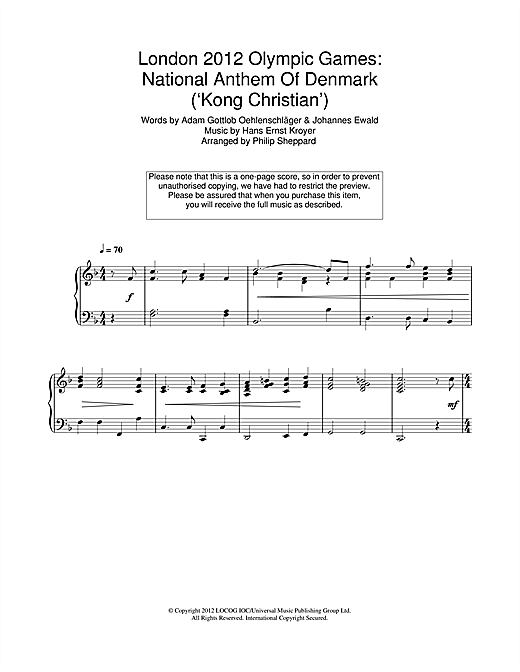 London 2012 Olympic Games: National Anthem Of Denmark ('Kong Christian') Sheet Music