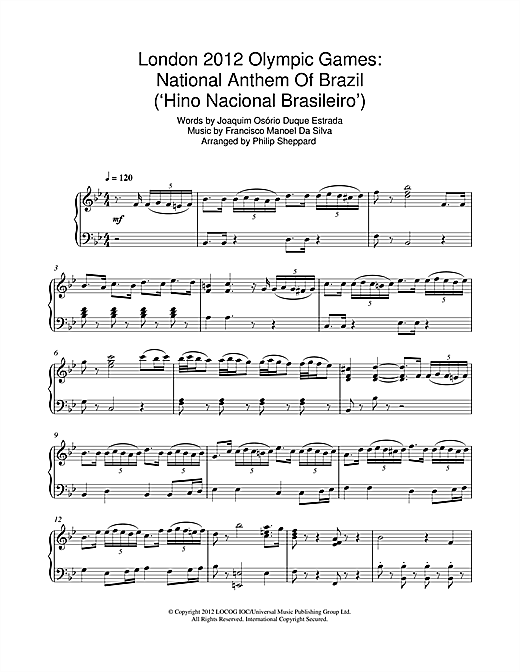 page one of London 2012 Olympic Games: National Anthem Of Brazil ('Hino Nacional Brasileiro')ASALTTEXT
