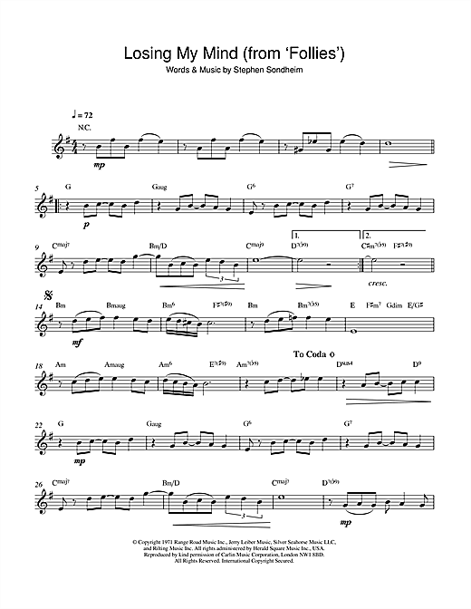 Losing My Mind (from 'Follies') Sheet Music