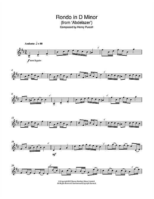 Rondo in D Minor (from Abdelazer) Sheet Music
